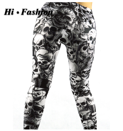Skull Pattern Steampunk Leggings Black