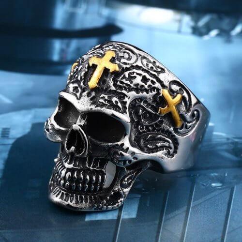 Biker Skull Ring Gold