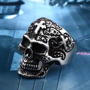 Biker Skull Ring Silver