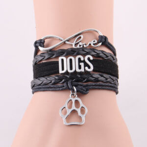 Infinity Love For Dogs Bracelet Black