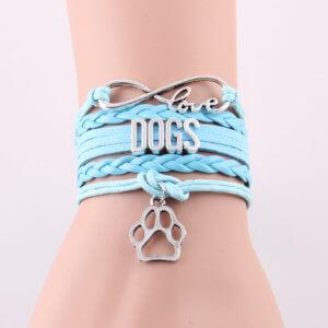 Infinity Love For Dogs Bracelet Blue