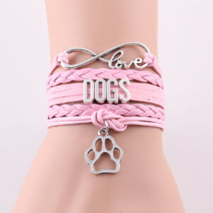Infinity Love For Dogs Bracelet Pink