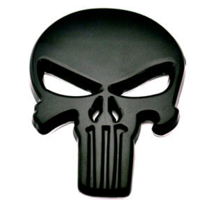 Skull Metal Car Sticker Black