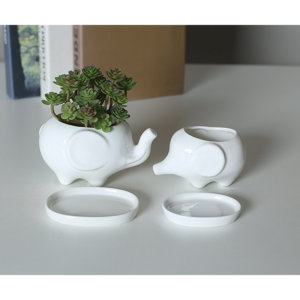 Mini Ceramic Elephant Planter