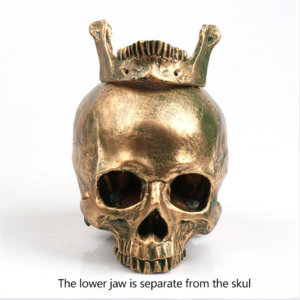 Handmade Flame Bronze Decorative Skull