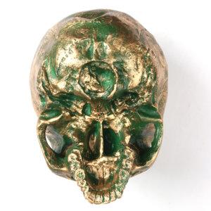 Handmade Flame Bronze Decorative Skull