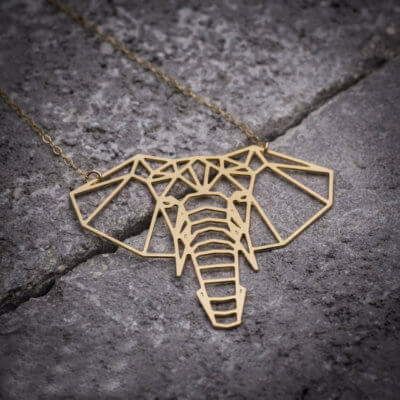 Origami Elephant Geometric Necklace Gold