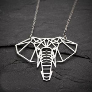 Origami Elephant Geometric Necklace Silver
