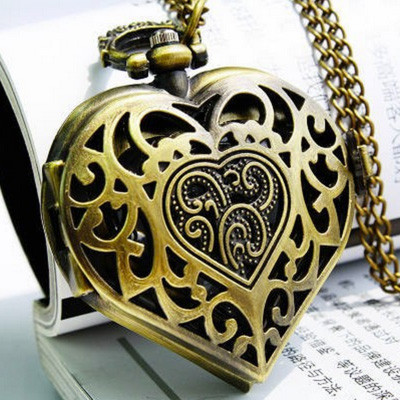Vintage Steampunk Heart Locket Pendant Pocket Watch