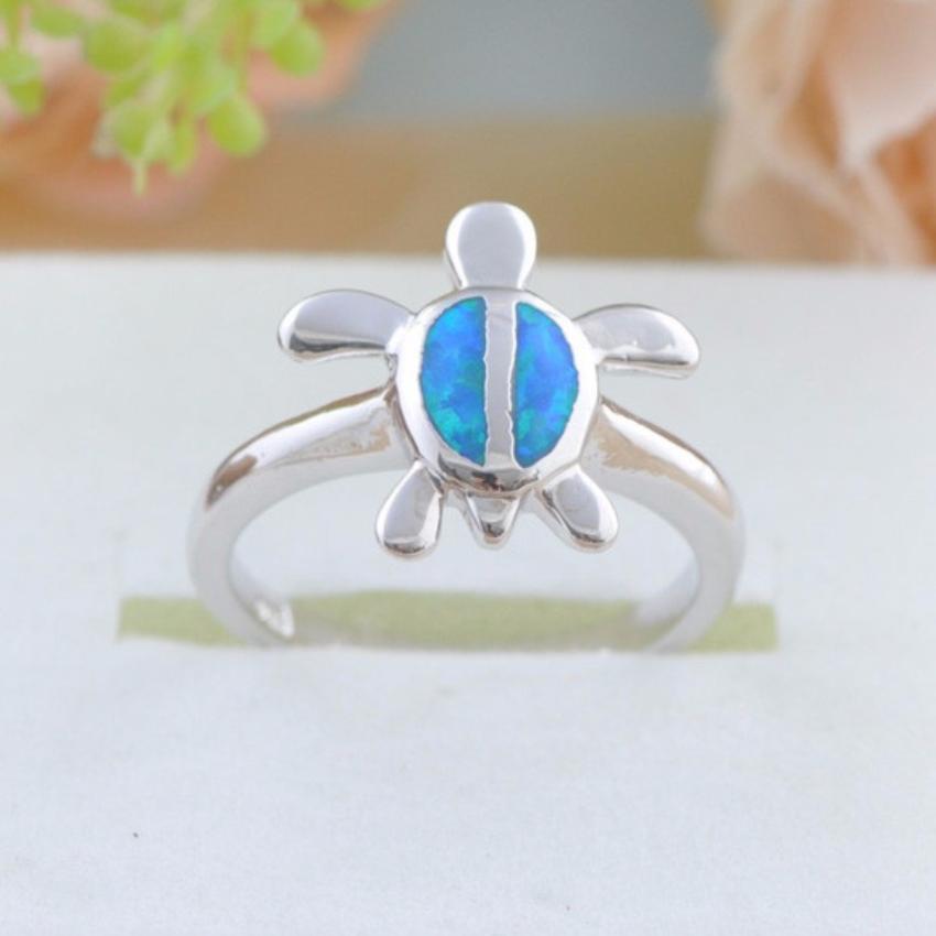 Blue Opal Silver Turtle Ring