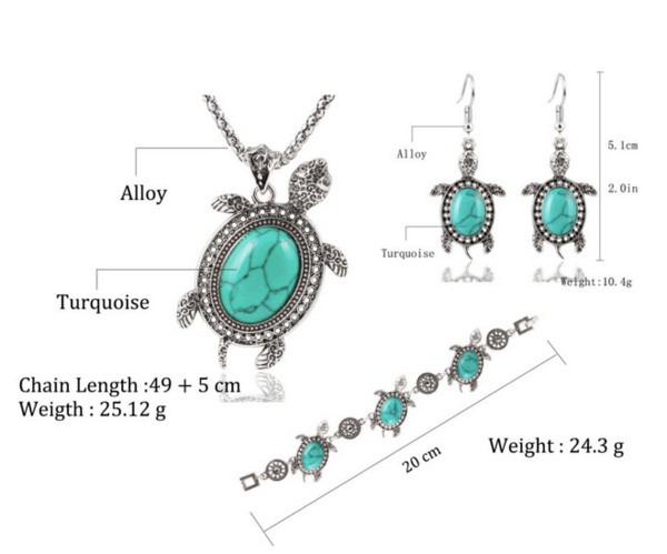 Turquoise Turtle 3 Piece Jewelry Set
