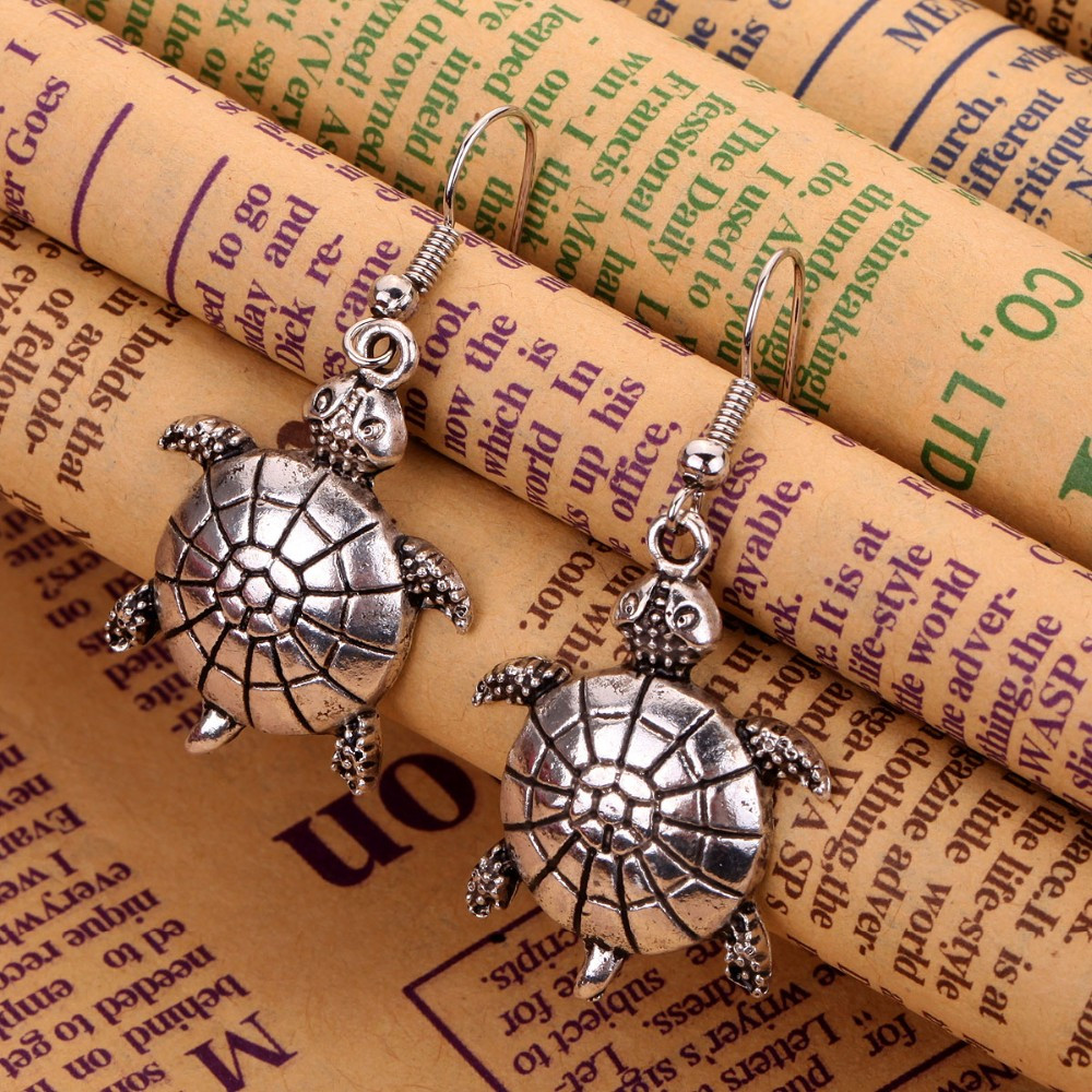 Turtle Dangle Silver Earrings