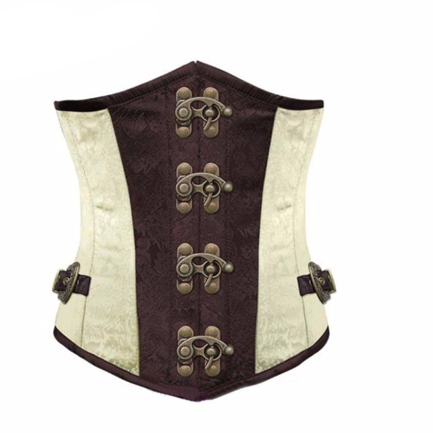 Gothic White Steampunk Corset With Underbust Steel Boned Cincher Waist Belt