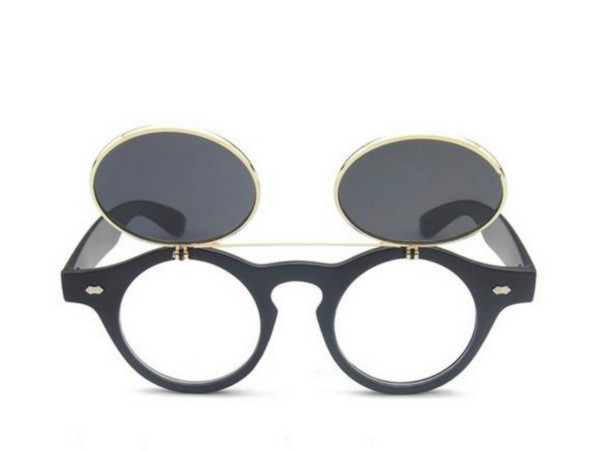 Vintage Retro Steampunk Round Circle Flip Up Clear Lens Glasses