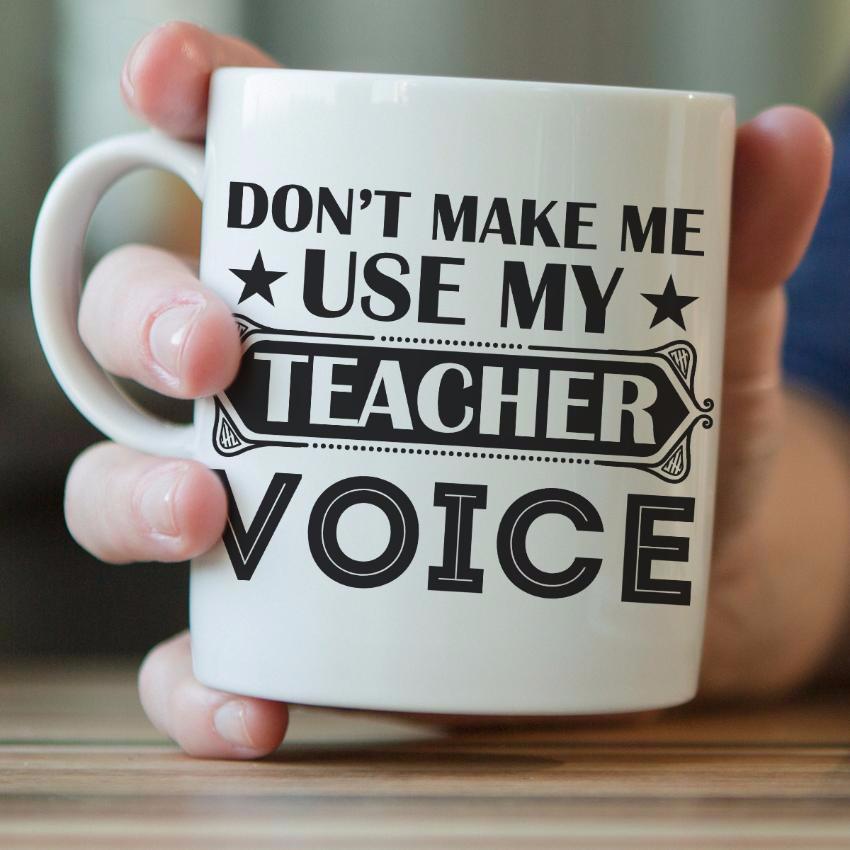 """Don't Make Me Use My Teacher Voice"" Mug"