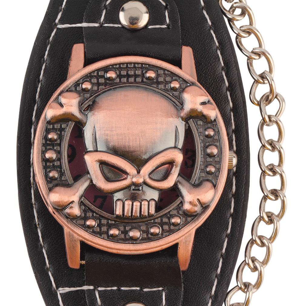 Leather Skull Bracelet Watch