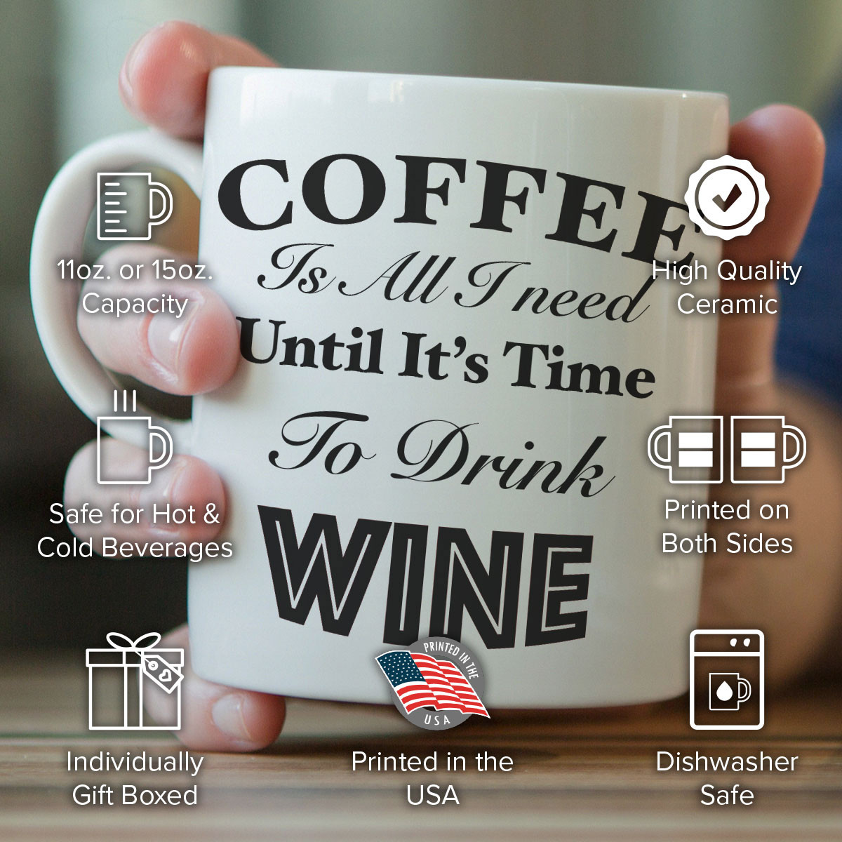 """Coffee Is All I Need Until It's Time To Drink Wine"" Mug"