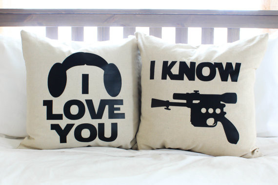 "Leia & Han ""I Love You/I Know"" Pillow Set"