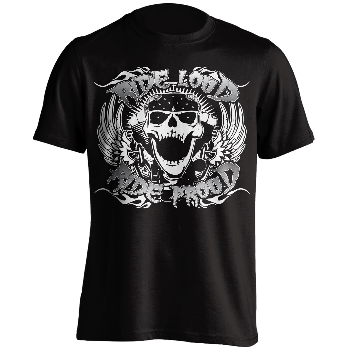 Biker T-Shirt- Ride Loud Ride Proud