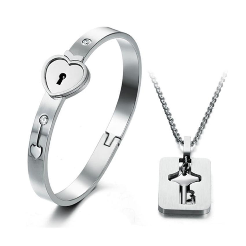 Lock Key Bracelet And Pendant Jewelry Set