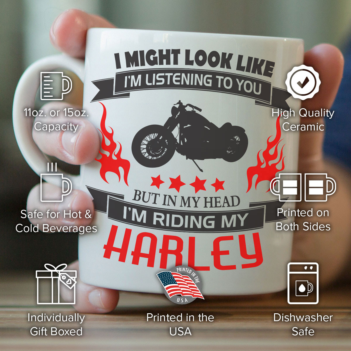 """I Might Look Like I'm Listening To You"" Harley Mug"
