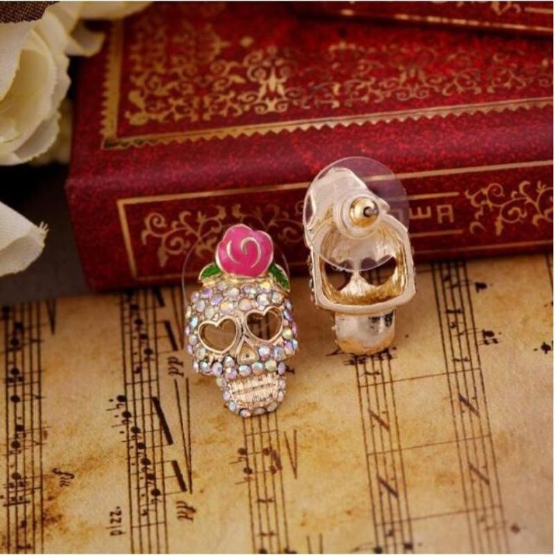 Retro Gold Filled Diamond Skull Earrings