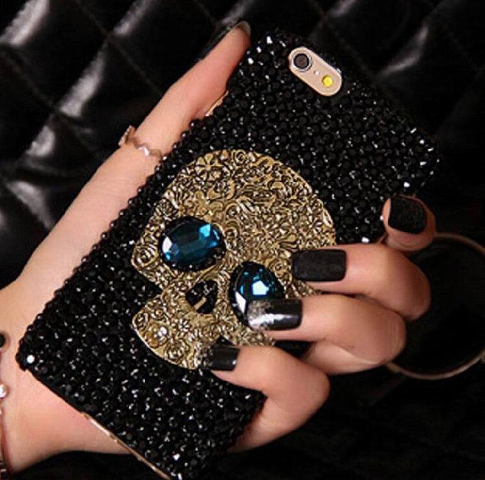 Metal Saphire Eye Skull Phone Case Cover - 3D Diamond Rhinestone