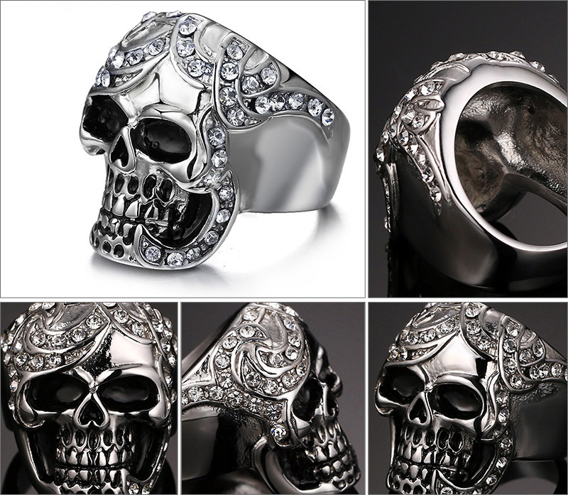 Silver Simulated Diamond Skull Ring