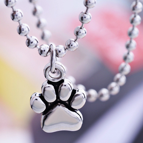 Silver Plated Dog Foot Print Necklace
