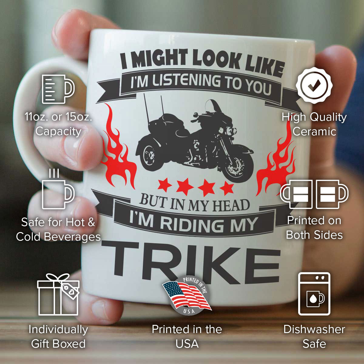 """I Might Look Like I'm Listening To You"" Trike Mug"