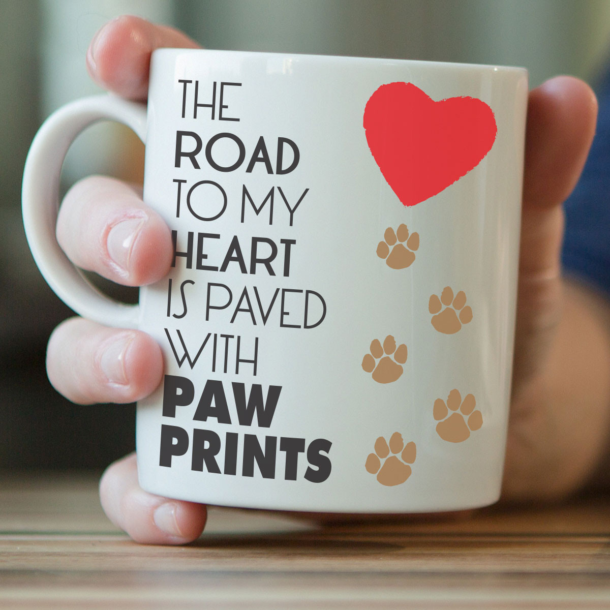 The Road To My Heart Is Paved With Paw Prints Mug