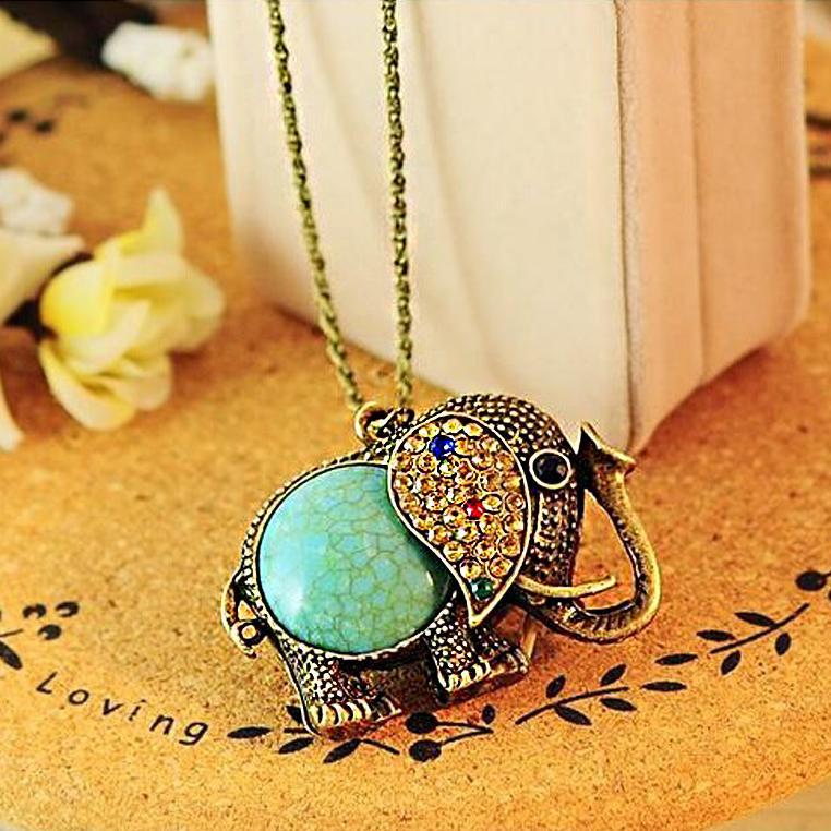 Vintage Bohemia Rhinestone Elephant Necklace