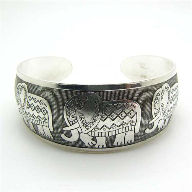 Vintage Elephant Silver Plated Bracelet