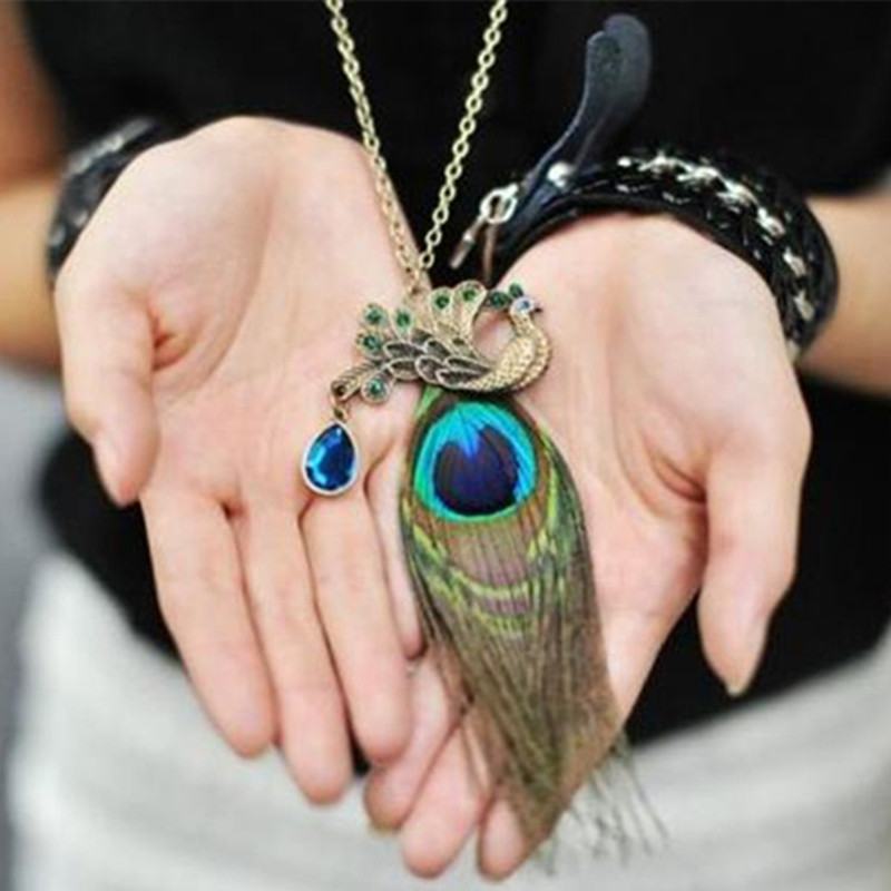 Vintage Peacock Feather With Rhinestone Necklace