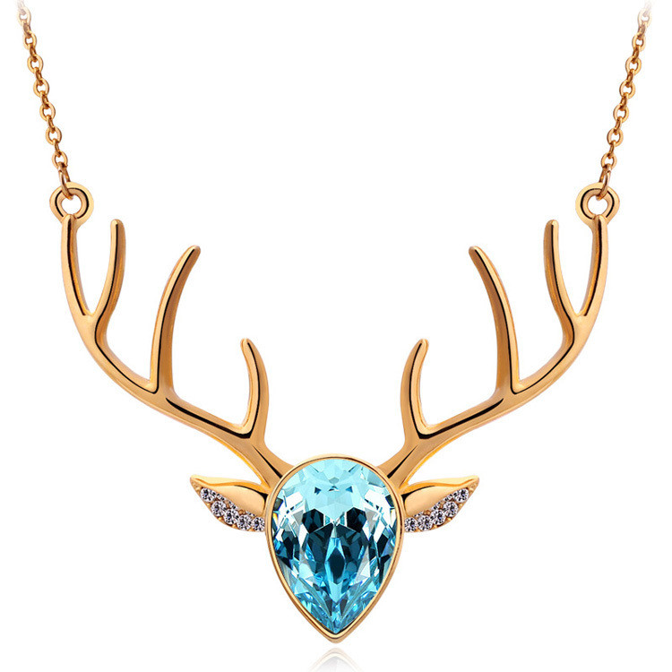 Rhinestone Crystal Deer Necklace
