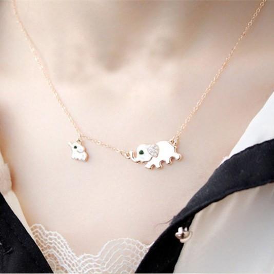 Cute Elephant Family Stroll Necklace