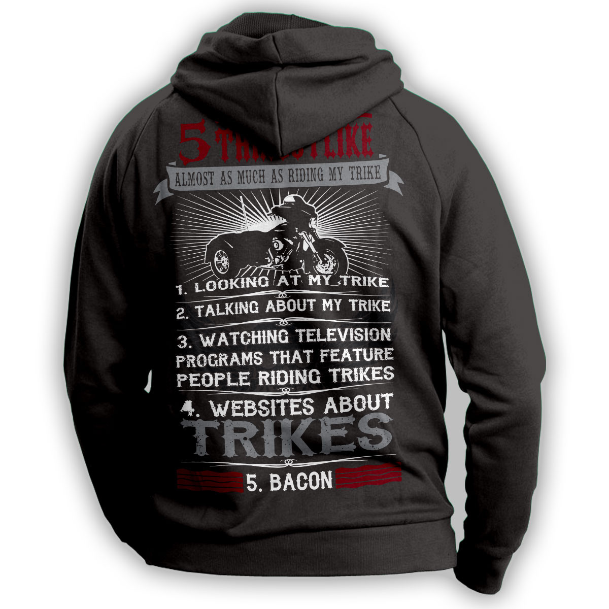 """5 Things I Like Almost As Much As Riding My Trike"" Hoodie"