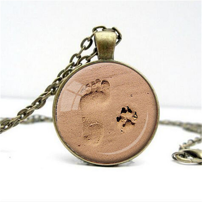 Dog Paw And Footprint Necklace