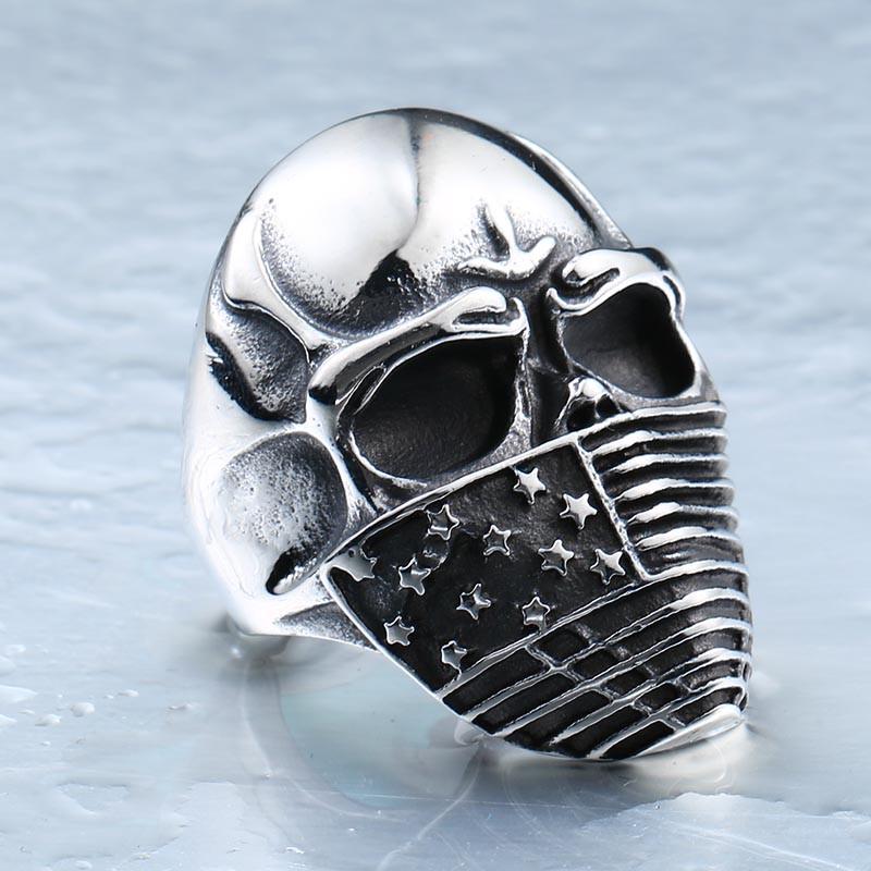 American Flag Skull Ring