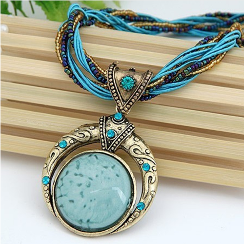 ★ FREE ★ - Bohemian Full Moon Beaded Chain Necklace