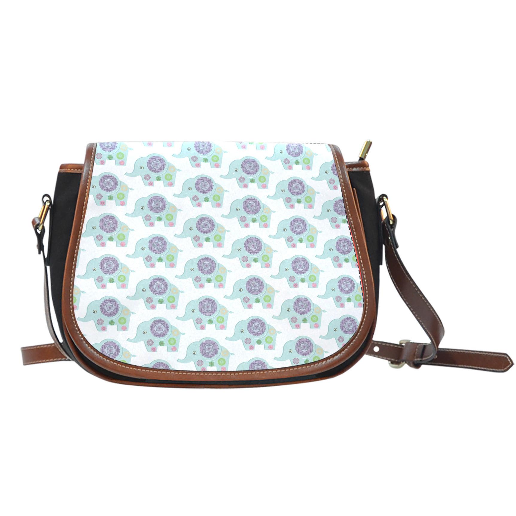 Elephant Pattern Saddle Bag
